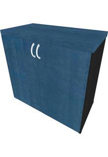 Armário De Escritório Natus 2 Pt Preto E Azul