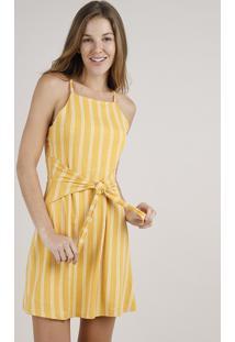 Vestido Feminino Curto Listrado Com Amarração Alças Finas Mostarda