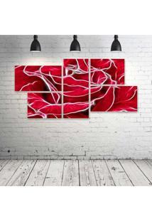 Quadro Decorativo - Rose-Neon - Composto De 5 Quadros