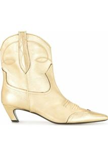 Khaite Ankle Boot Dallas Com Salto 50Mm - Dourado