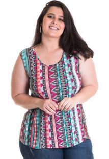 Regata Plus Size Viscose Multicolorida Estampada 41214 - Multicolorido - Feminino - Dafiti