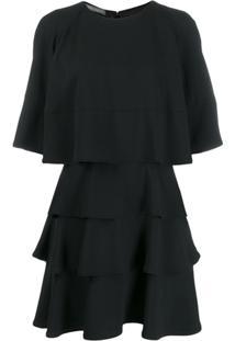 Alberta Ferretti Flared Layered Dress - Preto