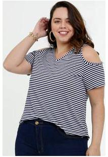 Blusa Feminina Open Shoulder Listrada Plus Size Marisa