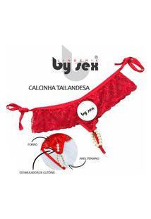 Calcinha Tailandesa Lingeriesex Com Pérolas Eroticas Luxo Vermelho