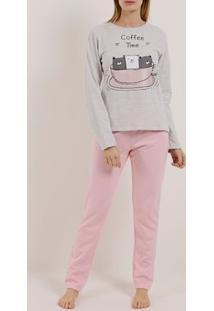 Pijama Longo Feminino Cinza/Rosa