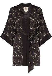 Figue Jaqueta Kimono Niko Com Estampa De Estrelas - Preto