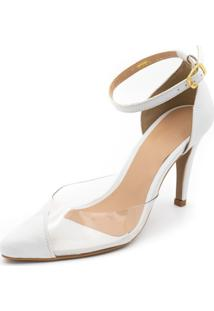 Sapato Scarpin Salto Alto Em Napa Verniz Branca Com Transparência