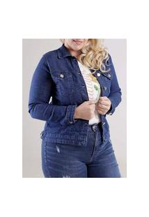 Jaqueta Jeans Plus Size Feminino Azul