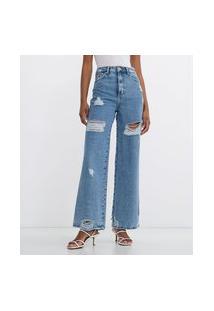 Calça Jeans Wide Leg Com Puídos