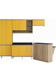 Cozinha Modulada 6 Peças 11 Portas Sicília Argila E Amarelo Multimóveis