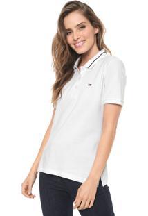 Camisa Polo Tommy Jeans Reta Listras Branca