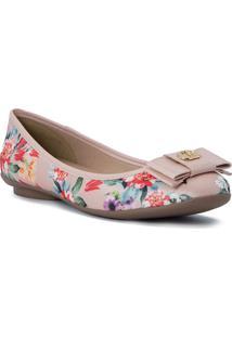 Sapatilha Floral Com Laã§O & Tag- Rosa Claro & Vermelhacarmen Steffens