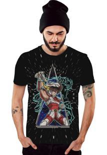 Camiseta Di Nuevo Seiya Cavaleiros Do Zodíaco Saint Seiya Preto