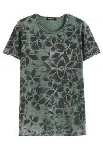 Camiseta Masculina Com Estampa Floral - Verde