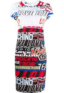 Love Moschino Vestido Reto Ajustado Com Estampa De Logo - Branco