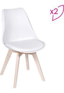 Jogo De Cadeiras Eames Modesti- Branco & Bege- 2Pã§S