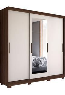 Guarda-Roupa Casal Com 3 Portas De Correr Auris-Móveis Albatroz - Cedro / Off White