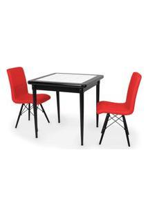 Conjunto Mesa De Jantar Em Madeira Preto Prime Com Azulejo + 2 Cadeiras Gomos - Vermelho
