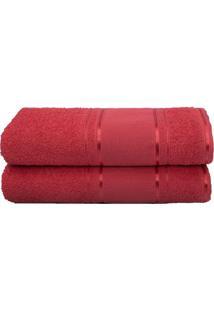 Toalha De Rosto Artesanato- Vermelho Escuro- 45X70Cmcamesa