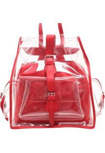 Bolsa Birô Cristal Colorida Feminina - Feminino-Vermelho