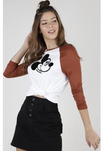 Blusa Feminina Mickey Raglan Manga Longa Decote Redondo Off White