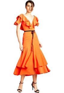 e3fdcc373 ... Vestido Midi Izadora Lima Brand Decote V Com Babados Feminino -  Feminino-Coral