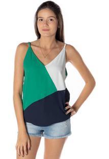 Blusa Com Recortes - Verde & Azul Marinhodwz