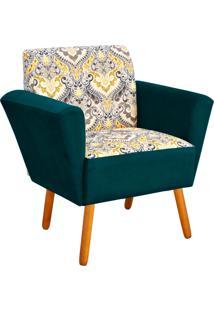 Poltrona Decorativa Dora Estampado D77 Com Suede Azul Pavão D'Rossi
