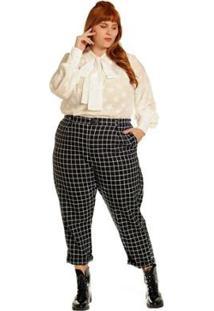 Calça Plus Size Alfaiataria Xadrez Janela Feminina - Feminino-Preto