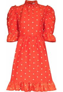 Batsheva Vestido Com Babados E Estampa Floral - Vermelho