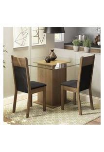 Conjunto Sala De Jantar Madesa Moni Mesa Tampo De Vidro Com 2 Cadeiras Rustic/Preto/Sintético Preto