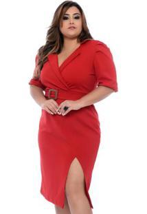 Vestido Alfaiataria Vermelho Plus Size