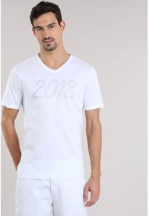 """Camiseta """"2018"""" Branca"""