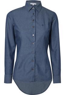 Camisa Jeans Ml Maquinetada (Jeans Escuro, 38)