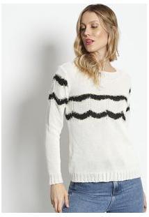 Ponto Aguiar Blusa Em Tricã´ Texturizado Off White & Preta