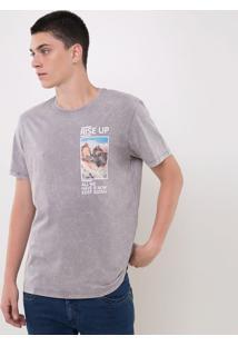 Camiseta Estonada Com Estampa