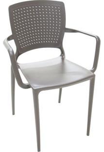 Cadeira Safira Com Braço Marrom
