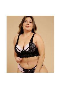 Sutiã Plus Size Feminino Top Corpete Renda Marisa
