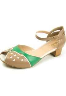 Sandália Retrô Peep Toe Touro Boots Feminina Bege E Verde - Kanui
