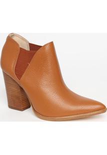 Ankle Boot Em Couro Texturizado- Marrom Claro- Saltojorge Bischoff