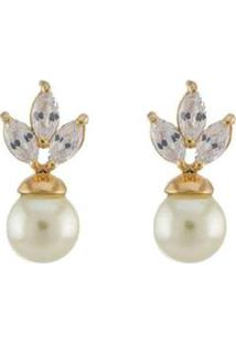 Brinco Barbara Strauss Liz Em Pérola Lalique E Zircônia Revestido Em Ouro 18K - Feminino-Branco