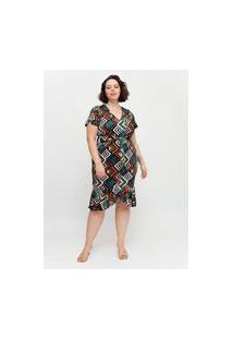 Vestido Midi Almaria Plus Size Pianeta Faixa Embutida Laranja