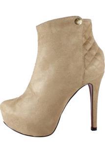 Ankle Boot Week Shoes Salto Alto Caramelo Matelassê