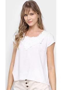 Blusa Edivi Com Guipir Feminina - Feminino-Branco