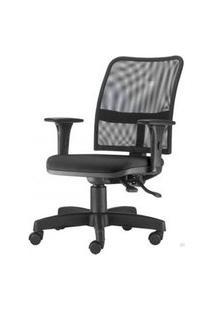Cadeira Soul Assento Crepe Preto Braco Reto Base Metalica Com Capa - 54218 Preto