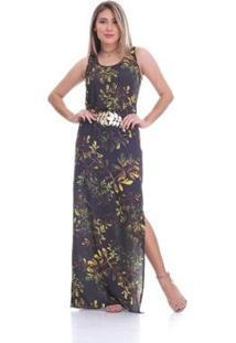 Vestido Clara Arruda Longo Cinto Estampado Feminino - Feminino-Dourado