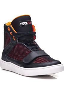 Tênis Masculino Rockfit Red Hot Em Couro Preto E Laranja