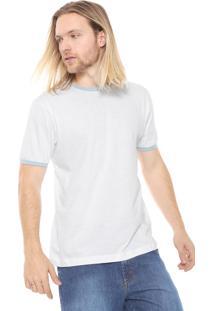 Camiseta Fiveblu Manga Curta Lisa Branca/Verde