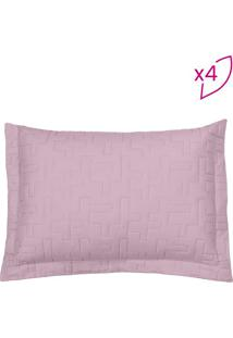 Porta Travesseiro Reffinata- Rosa- 4Pçs- 200 Fiobuettner