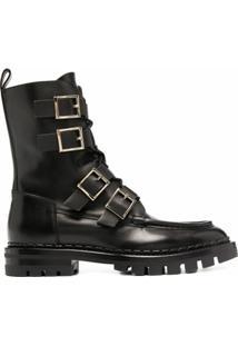 Santoni Ankle Boot Com Detalhe De Fivela - Preto